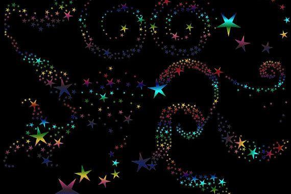 RAinbow Swirling Stars Clipart example image 1