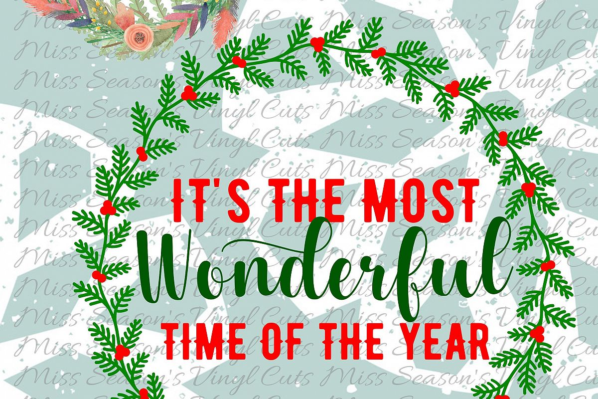 Most Wonderful Time Of the Year Svg Dxf, Eps, Png  Wreath example image 1