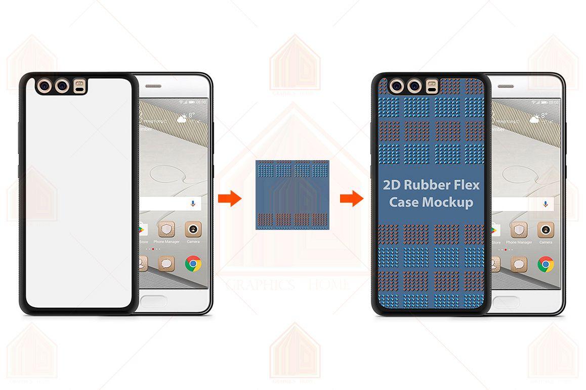 Huawei P10 Plus 2d RubberFlex Case Design Mockup Back-Front example image 1