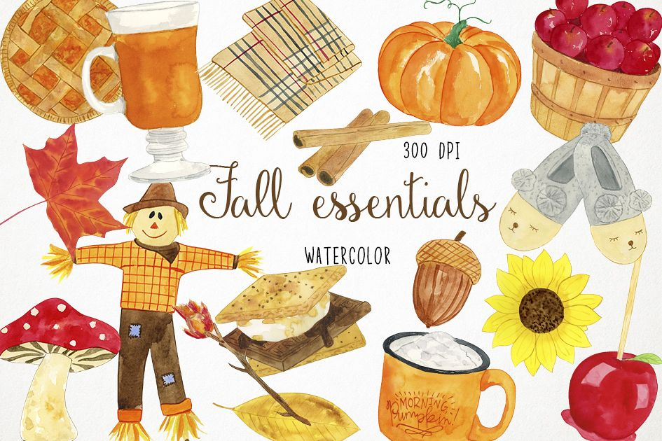 Watercolor Fall Clipart, Autumn Clipart, Harvest Clipart example image 1