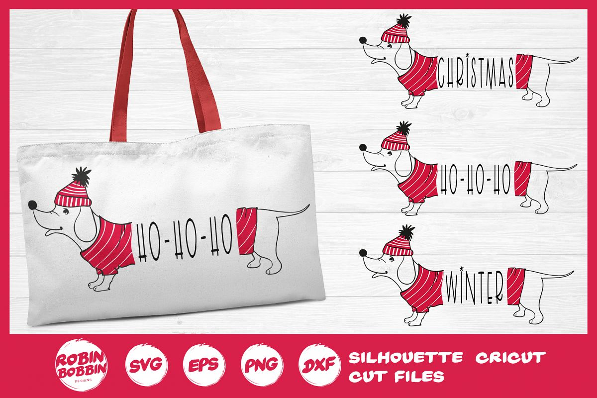 Christmas SVG - Funny Christmas Dog SVG- Dachshund Dog SVG example image 1