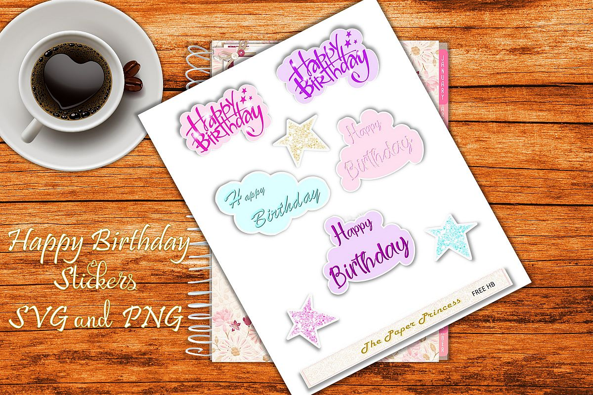 Happy Birthday Stickers SVG and PNG example image 1