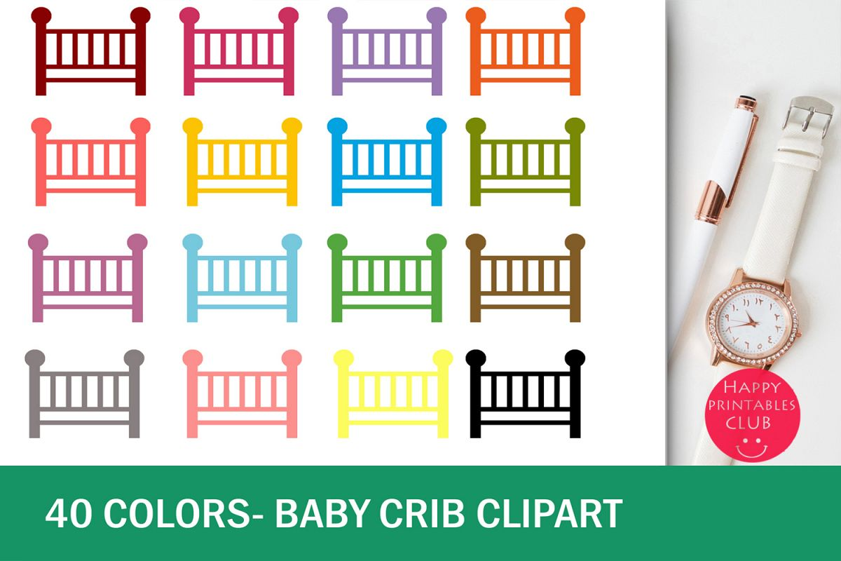 40 Baby Crib Clipart-Colorful Baby Crib Transparent Images example image 1