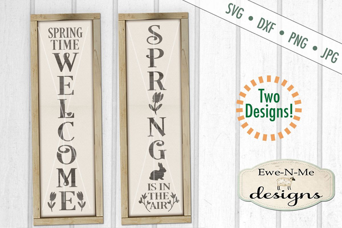 Spring Welcome Vertical Porch Sign SVG DXF Cut File example image 1