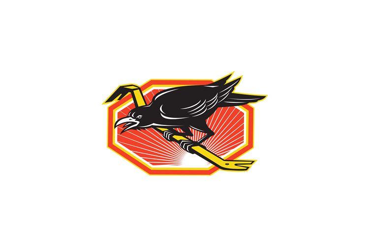 Crow Perching on Crowbar Retro example image 1