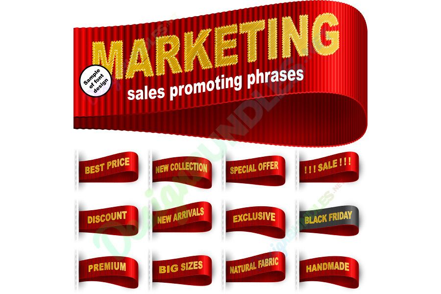 Vector Marketing Tag Label Clothes Sticker Sewn Phrase Set Red example image 1