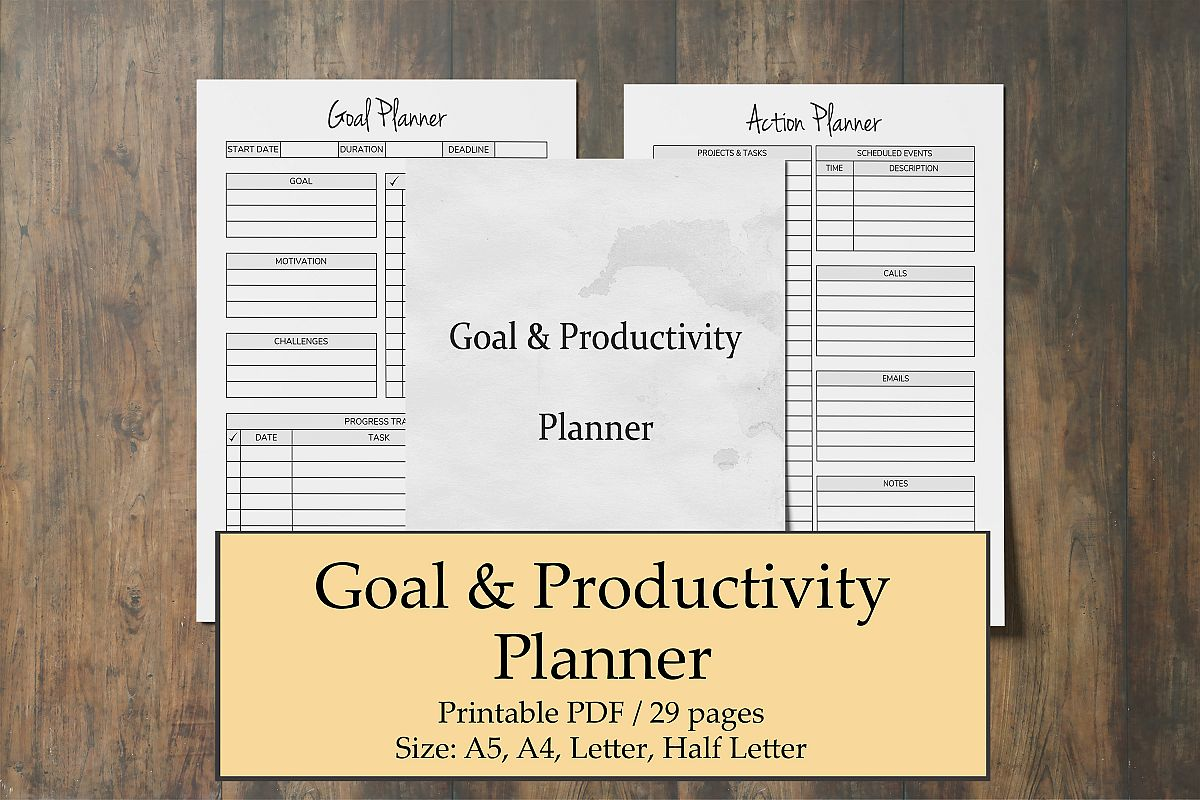 Productivity Planner Printable, Goal Plan, Time Management example image 1