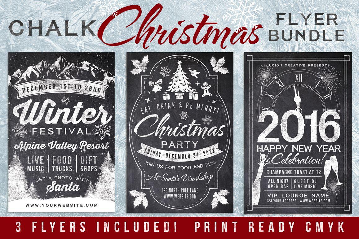 Chalk Christmas Flyer Invite Bundle example image 1