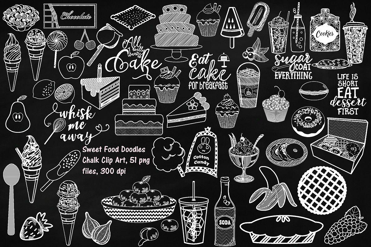 Chalk Sweet Junk Food Doodles Clip Art example image 1