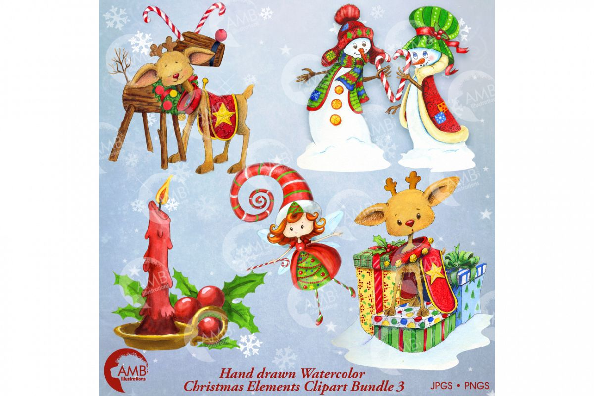 Watercolor Handrawn Christmas Bundle 1- AMB-1473 example image 1