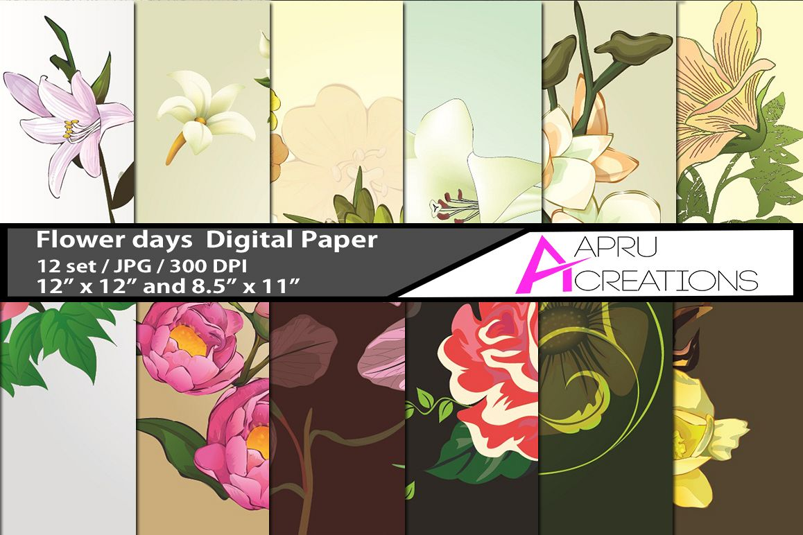 flower days pattern digital papers, embellishment flower pattern, digital papers, high quality 300 dpi, 12 x 12 inch , and 8.5 x 11 inch example image 1