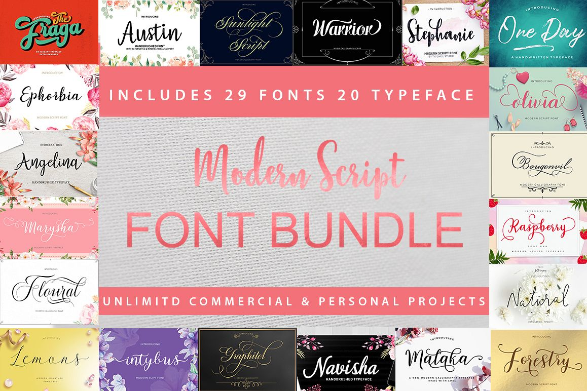 Modern Script Font Bundle example image 1
