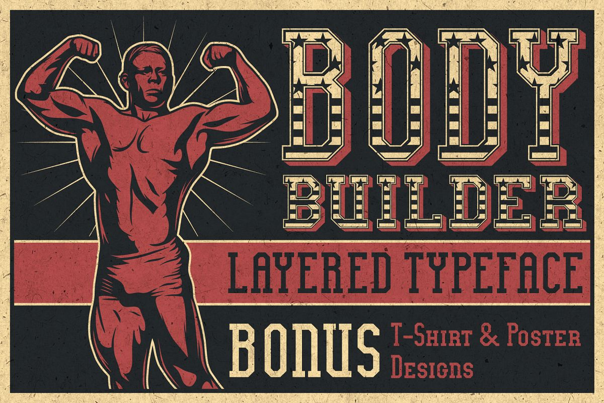 Bodybuilder Layered Font plus Bonus example image 1