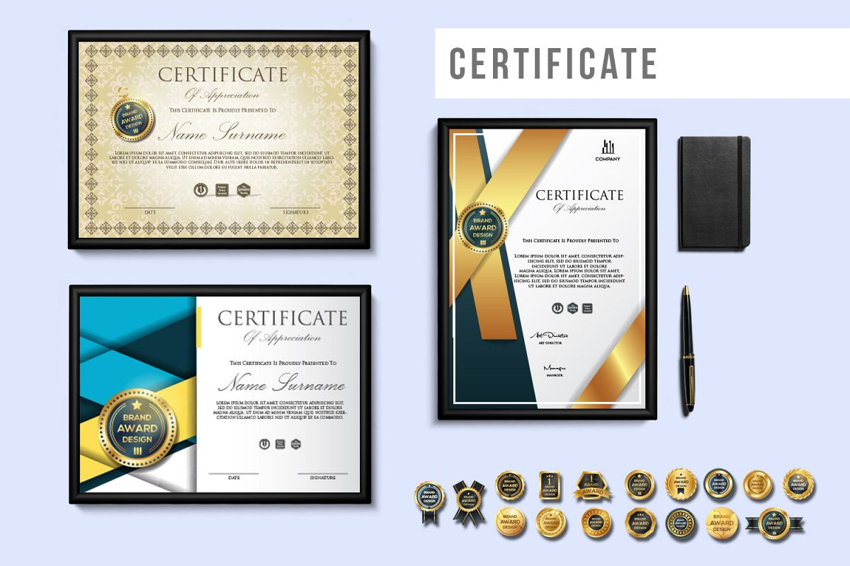 Creative Certificate Design Template With 16 Badge Vol 1
