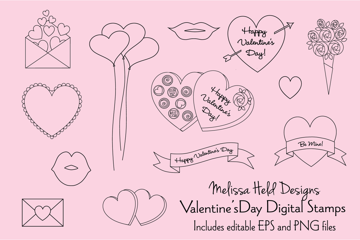 Valentines Day Digital Stamp Clipart example image 1