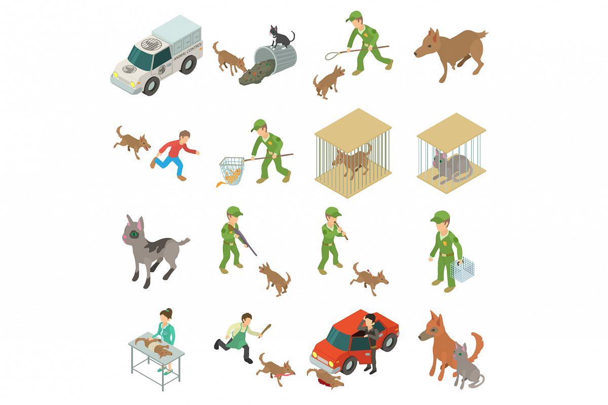 Stray animals icons set, isometric style example image 1