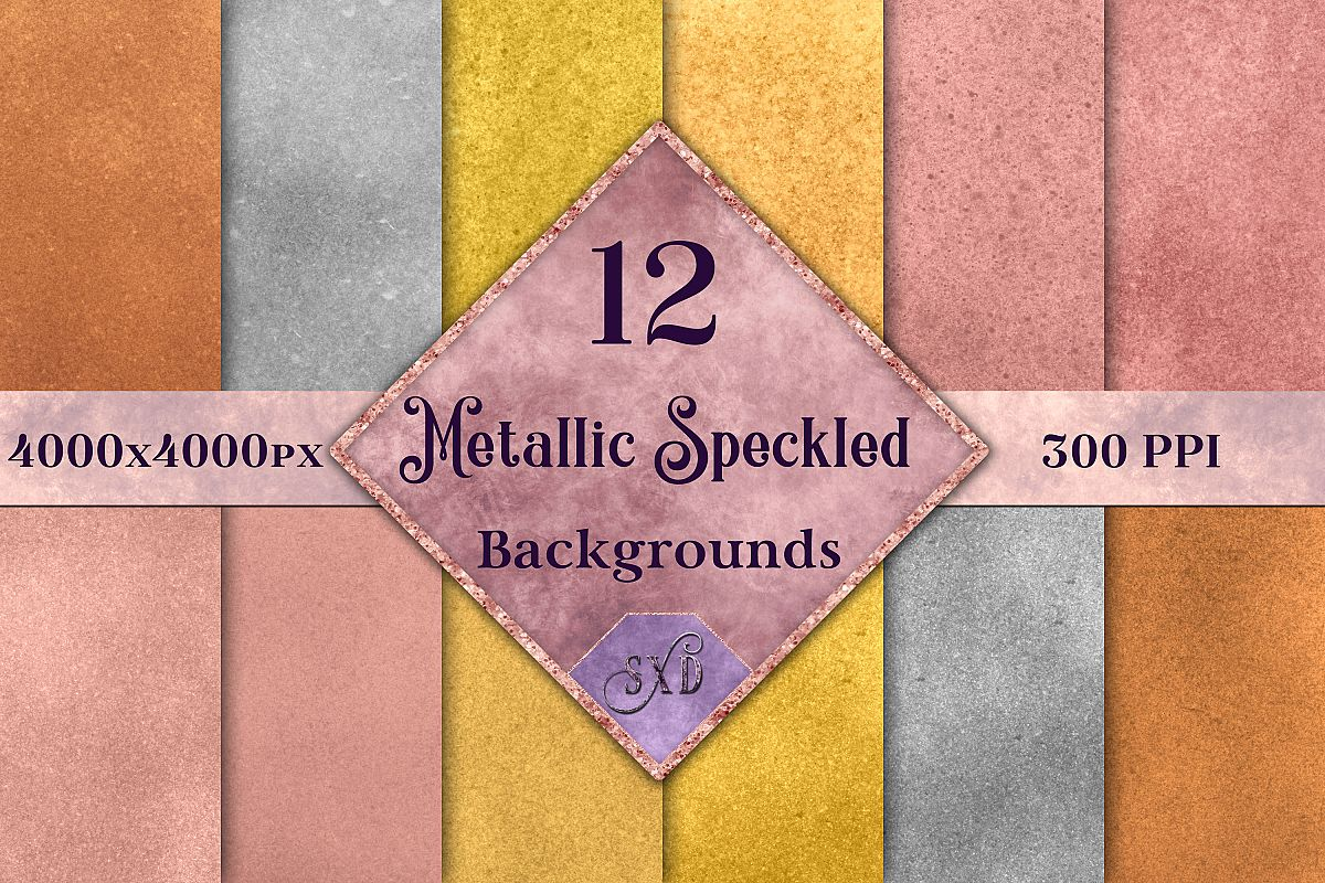 Metallic Speckled Backgrounds - 12 Image Textures Set example image 1