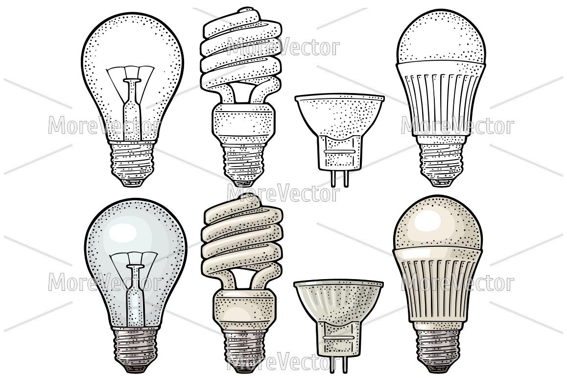 Evolution type electric lamp.  engraving example image 1