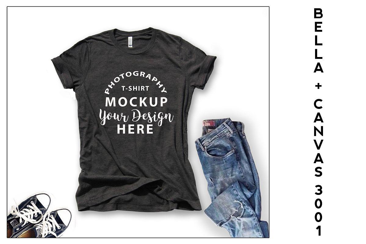 Bella Canvas 3001 T-shirt mock-up, color Dark Grey Heather example image 1