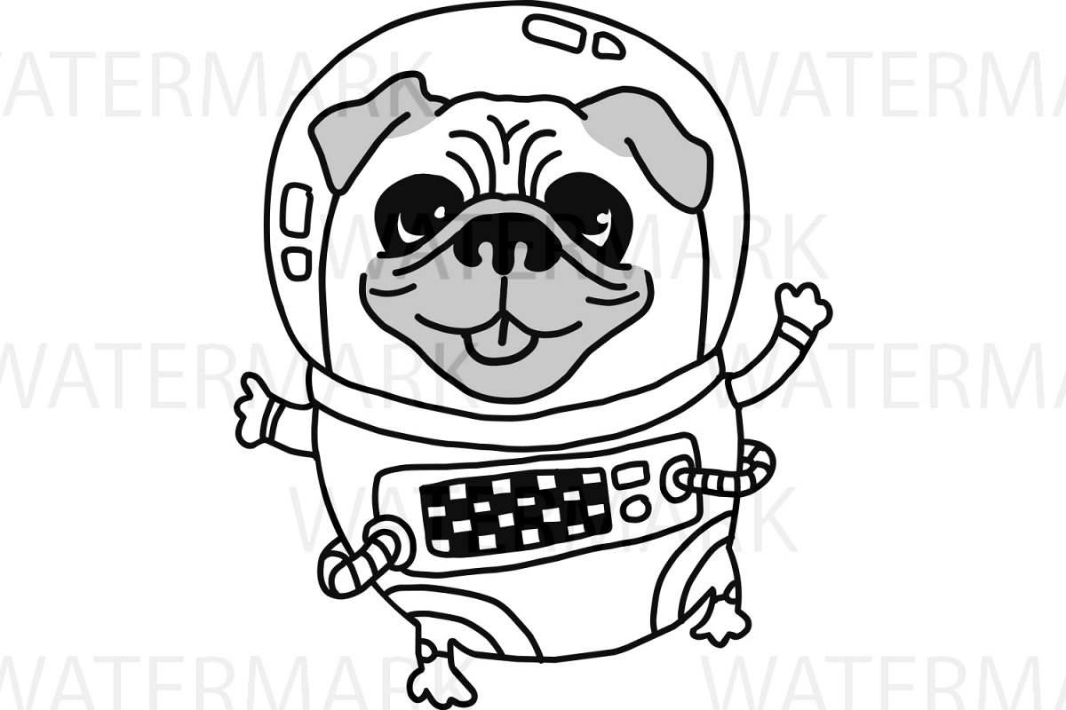 Astronaut Pug Dog in space very cute - SVG/JPG/PNG Hand Drawing example image 1