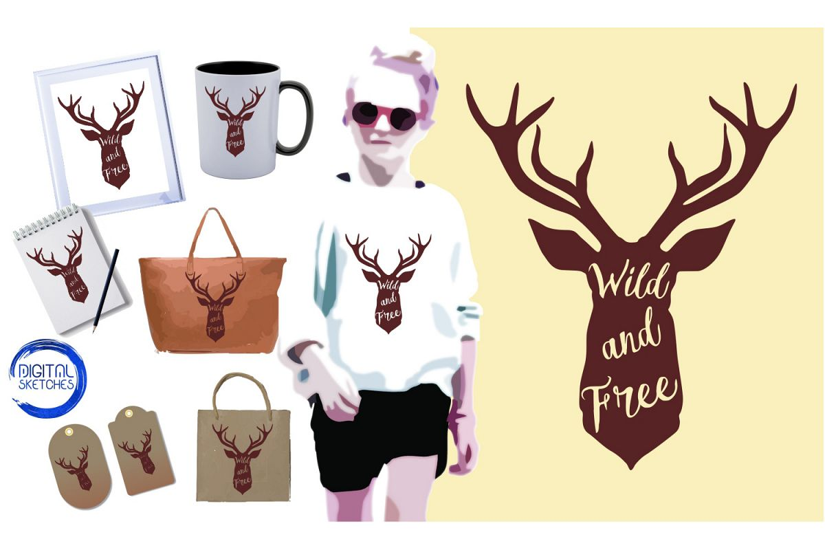Saying Deer Wild And Free Cut File Vector Graphics Illustrat example image 1