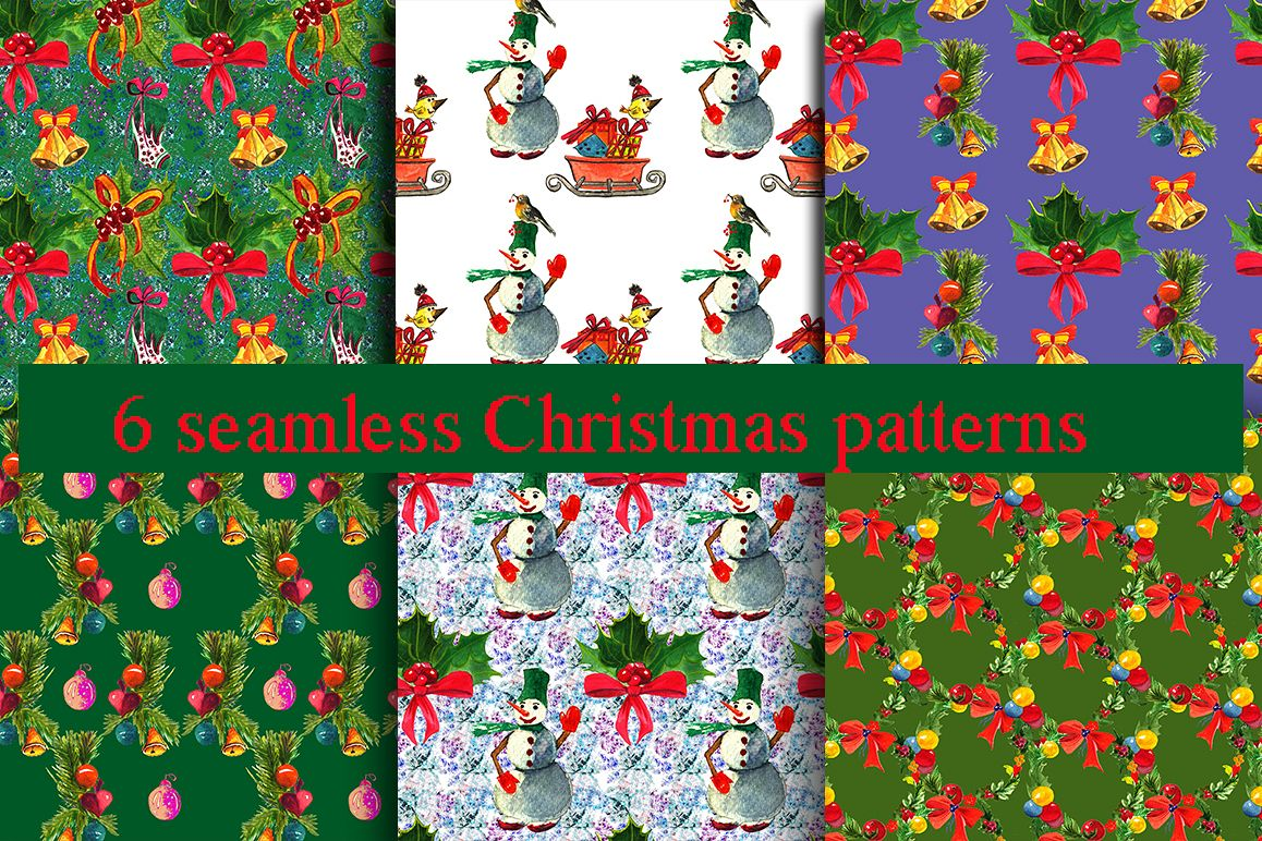 Watercolor Christmas patterns. example image 1