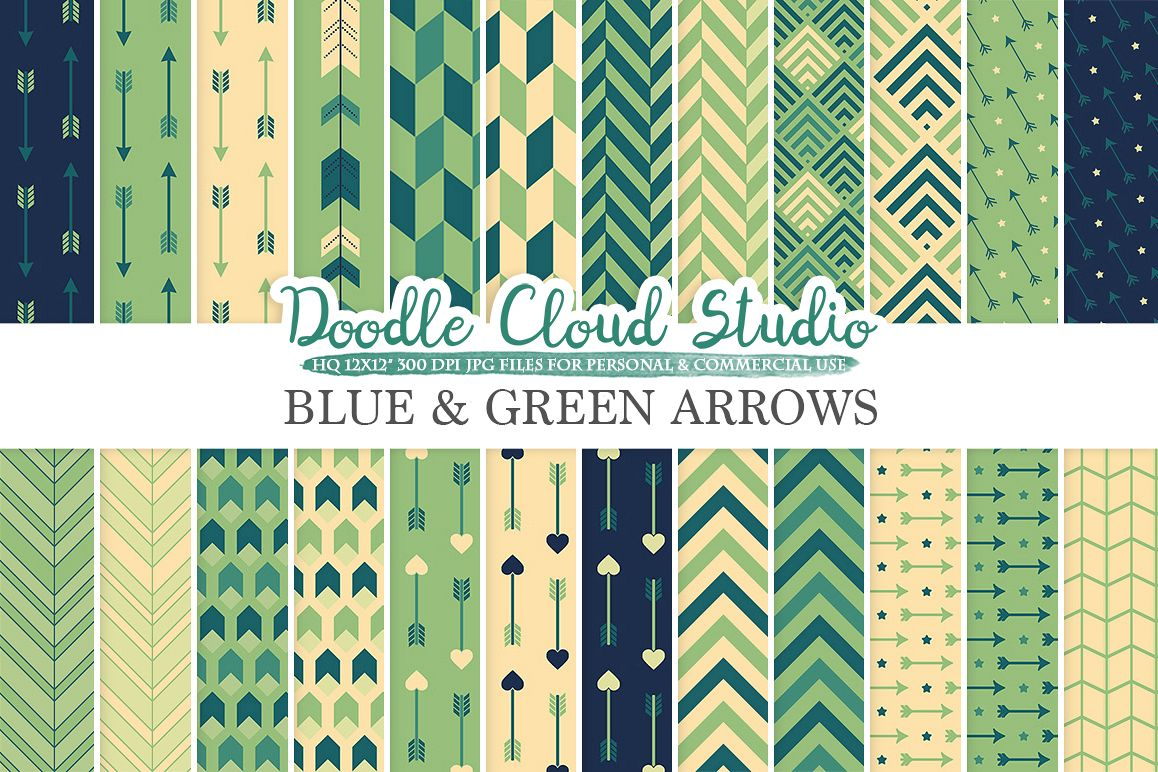 Blue and Green Arrows digital paper, Arrow patterns, tribal, archery, chevron triangles Cream backgrounds for Personal & Commercial Use example image 1
