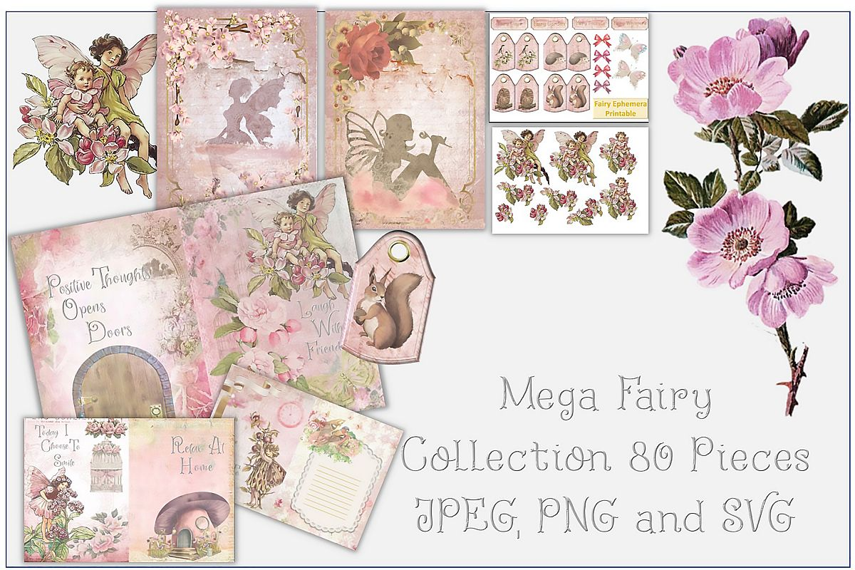 Fairy Mega Bundle. 24 backing papers 80 piece total CU example image 1