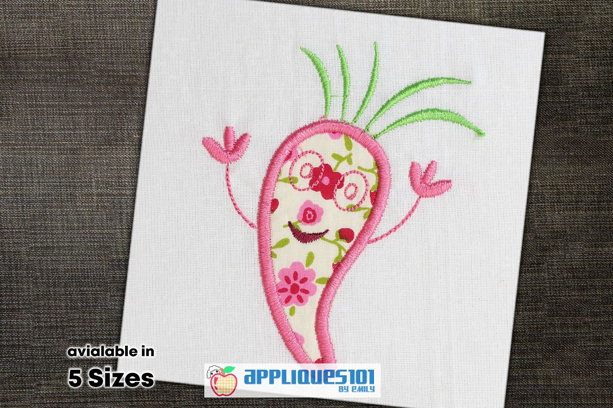 Carrot Machine Embroidery Applique Design - Vegetables example image 1