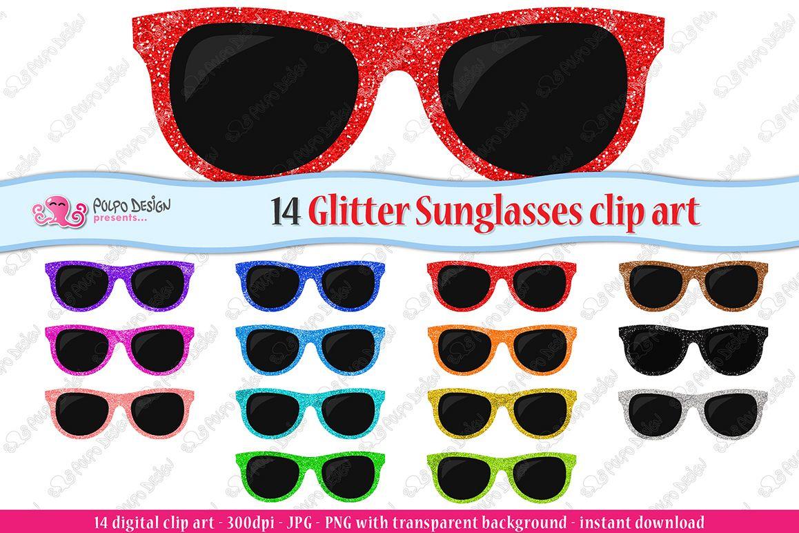 Colorful Glitter Sunglasses clip art example image 1