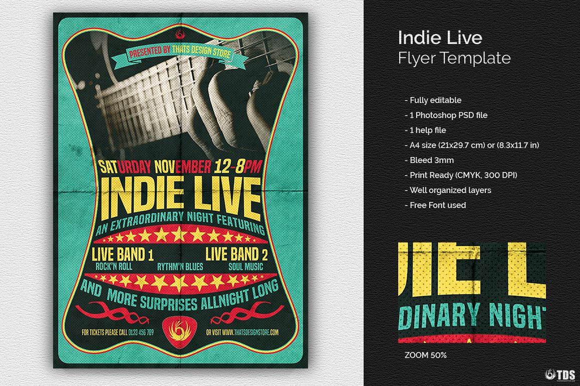 Indie Live Flyer Template example image 1