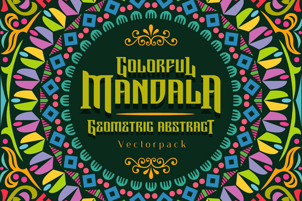Colorful Mandala Abstract Geometric example image 1