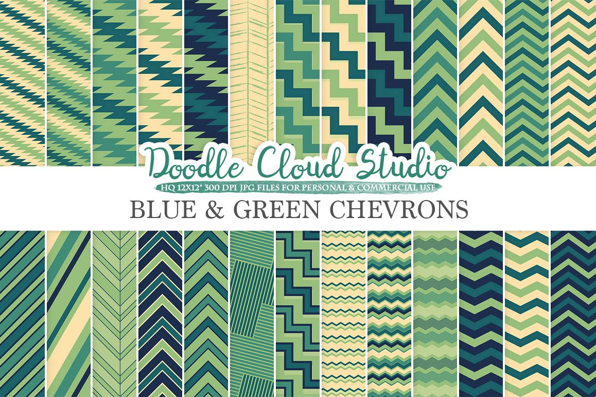 Blue and Green Chevron digital paper, Chevron and Stripes  pattern, Zig Zag lines Cream backgrounds for Personal & Commercial Use example image 1