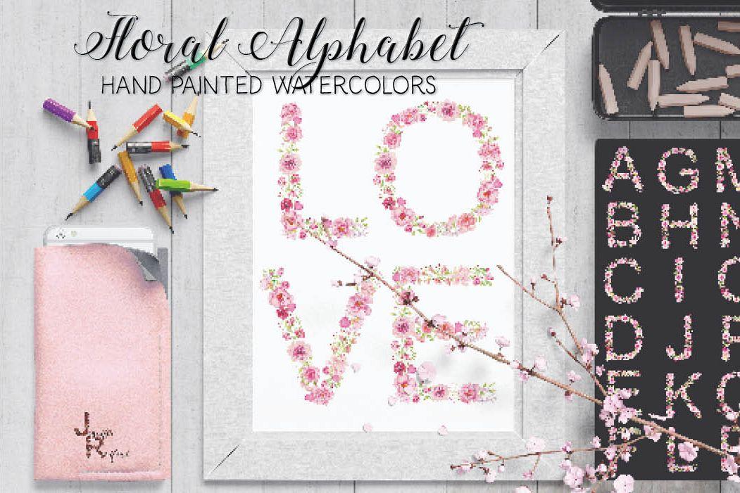 Pink floral alphabet in watercolors plus FREEBIE example image 1