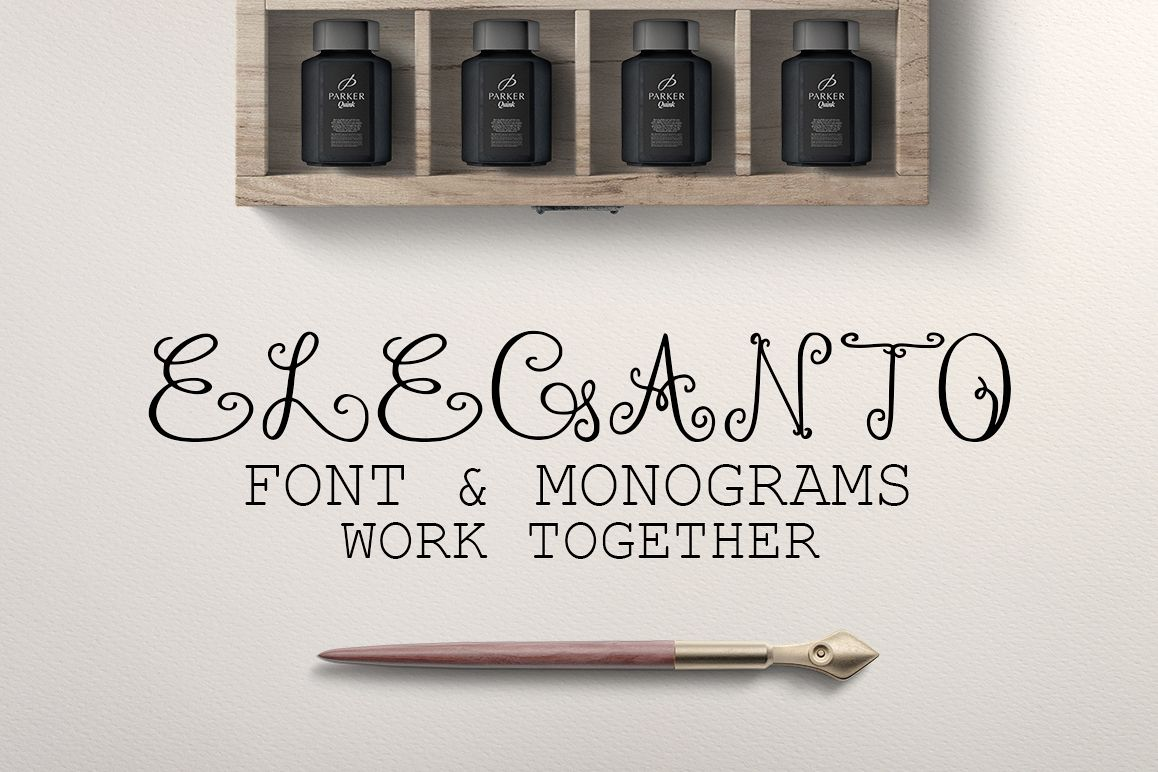 Monogram ELEGANTO Duo Font example image 1