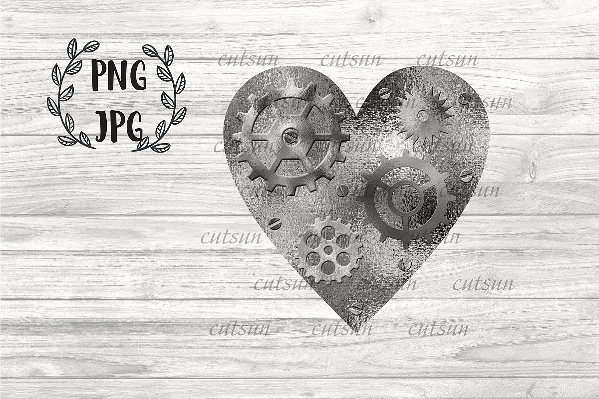 Steampunk Heart Silver sublimation design example image 1