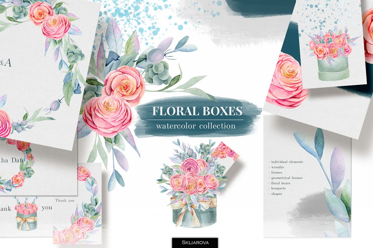 Floral boxes. Watercolor collection. example image 1