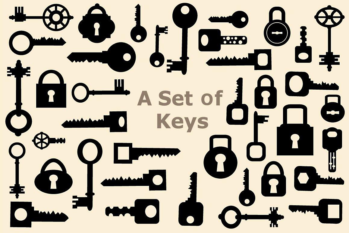 Set of vector elements  keys example image 1