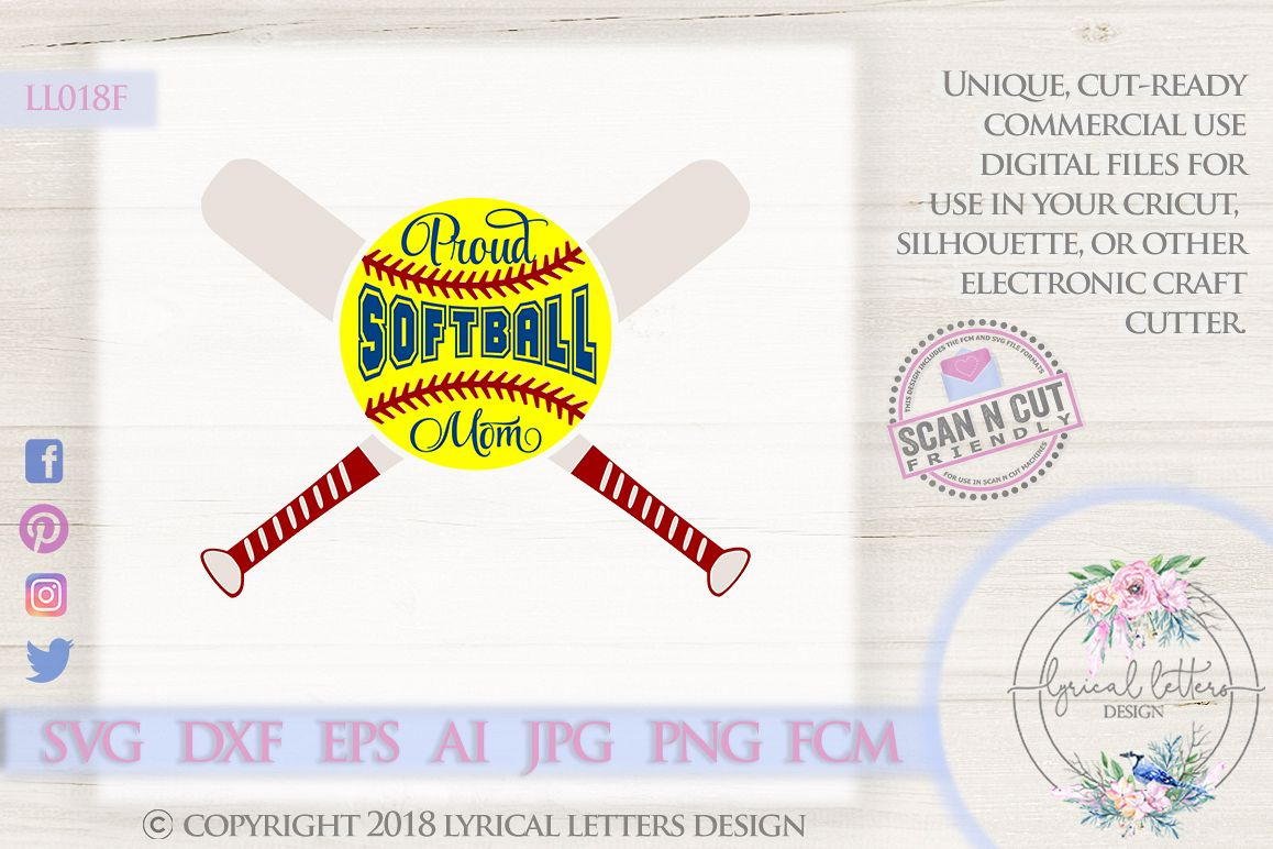 Proud Softball Mom with Softball and Bats SVG DXF LL018F example image 1
