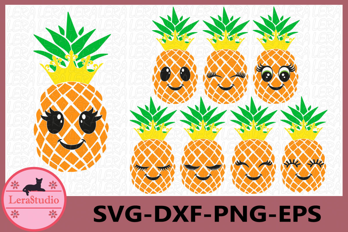 Pineapple face Svg, Pineapples SVG, Eyelashes SVG, Crown Svg example image 1