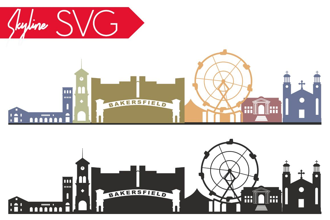 Bakersfield Skyline SVG Bakersfield City Vector California City silhouette Svg, USA city, SVG, JPG, PNG, DXF, CDR, EPS, AI example image 1