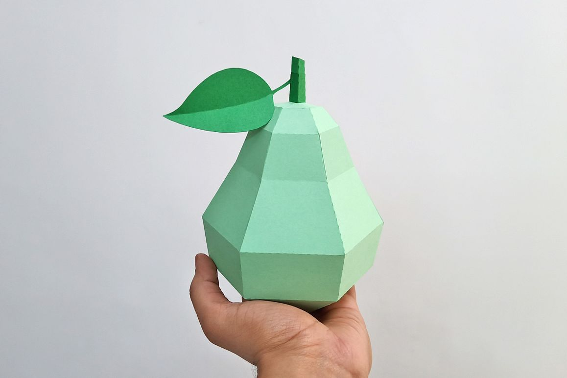 DIY Papercraft Pear,Papercraft fruits,Paper toy,Party,Cricut example image 1