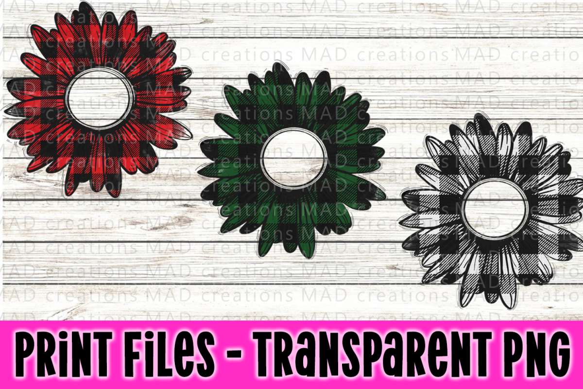 Buffalo Plaid - Rustic Sunflowers - Print Files example image 1