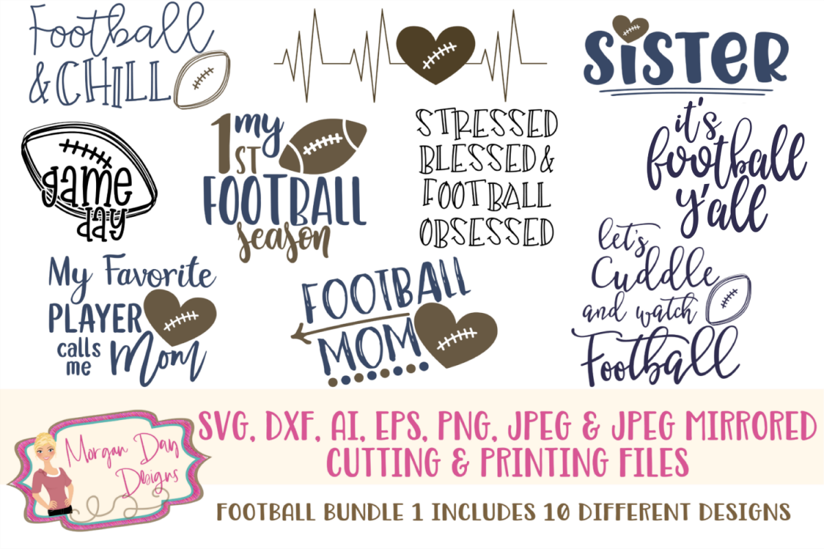 Football Bundle 1 SVG, DXF, AI, EPS, PNG, JPEG example image 1