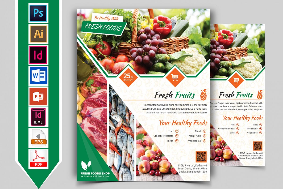 Fresh Food Grocery Shop Flyer Vol-02 example image 1