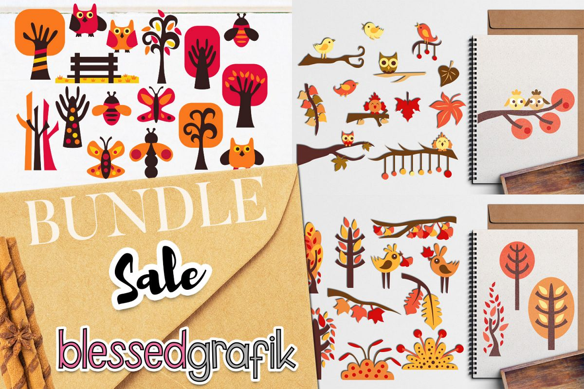 Autumn Fall Bundle - Nature clip art illustrations example image 1