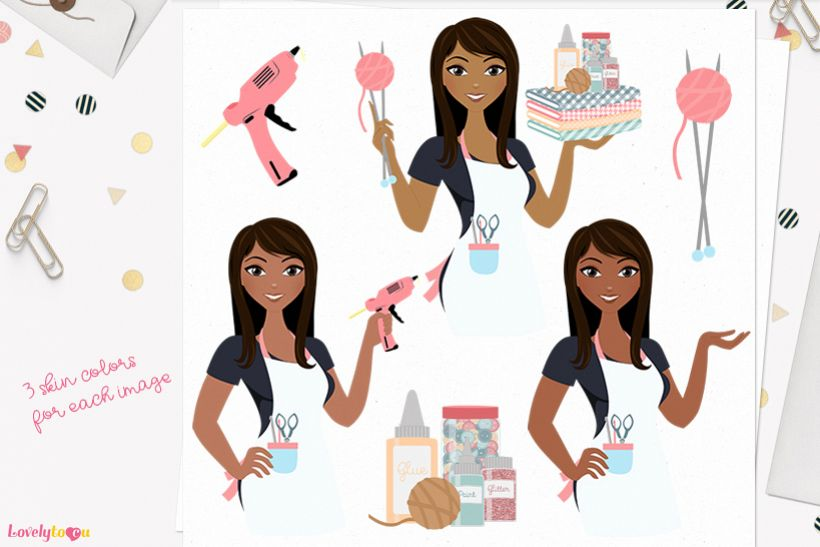 Woman crafts character clip art L156 Zoe example image 1