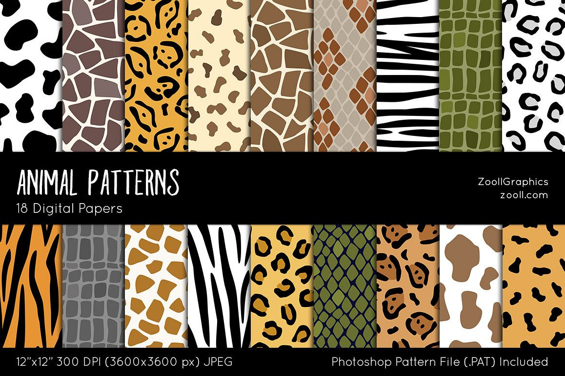 Animal Patterns Digital Papers example image 1