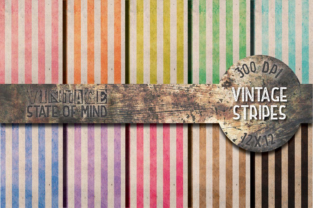 Vintage Stripes Digital Papers example image 1