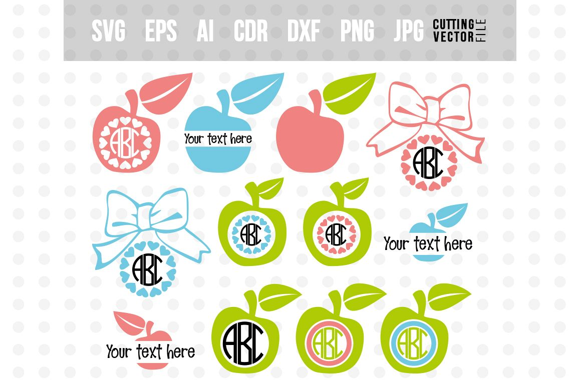 Back to School Monogram Bundle - svg, eps, ai, dxf, png, jpg